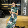 Lotus Print Summer Autumn Women Long Cheongsam Flower Elegant Top Robe Chinoise High Split Sexy Slim QiPao Dress