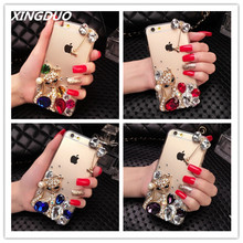 XINGDUO Luxuy Bling Diamond Fox Rhinestone Soft TPU Transparent Case For iphone 6 6S 7 8 Plus X XS XR MAX Crystal bow shell