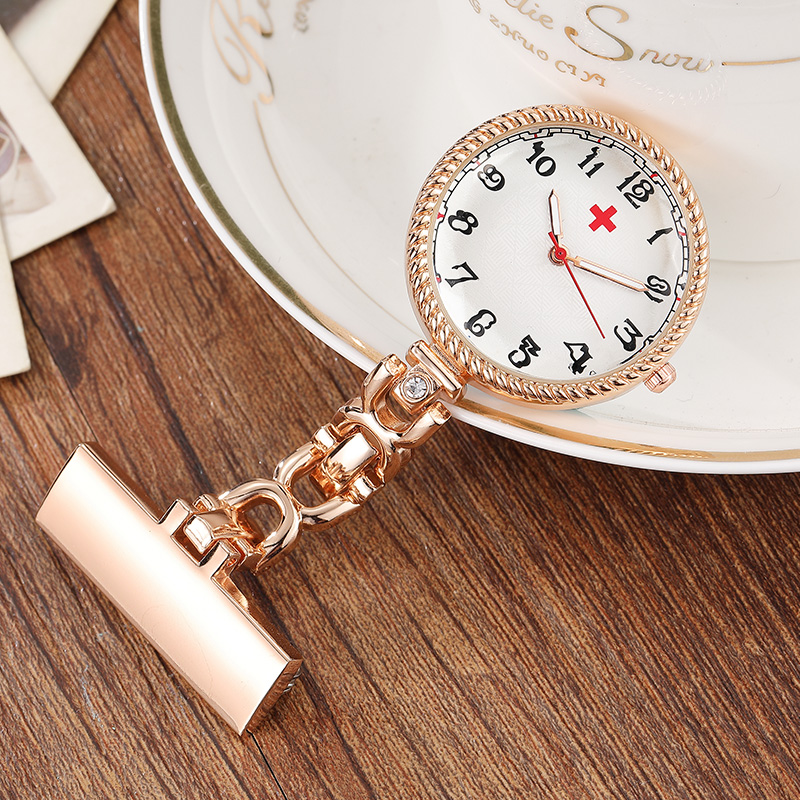4806beb6fac Vintage Rose Gold Brooch Hanging Nurse Watch Silver Fashion Arabic Number  Quartz Cute Pocket Watch Women Clock Gifts-in Pocket & Fob Watches from  Watches on ...