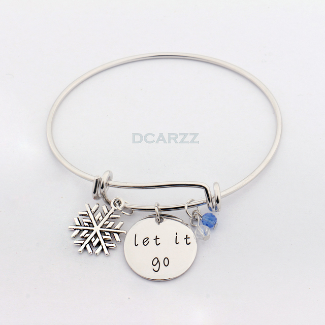 Let It Go Hand Stamped Frozener Bracelet With Snowflake Crystals Charms Bangle Christmas