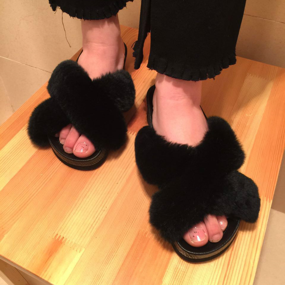 ФОТО 2017 New Arrival Women's Winter Shoes Genuine Leather Rex Rabbit Real Home Slippers Platform Fur Slippers Women Fur Slides