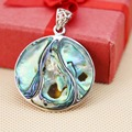 34mm Hot sale Round Natural colourful stripe Abalone seashells pendants Women jewelry delicate design Retail and wholesale