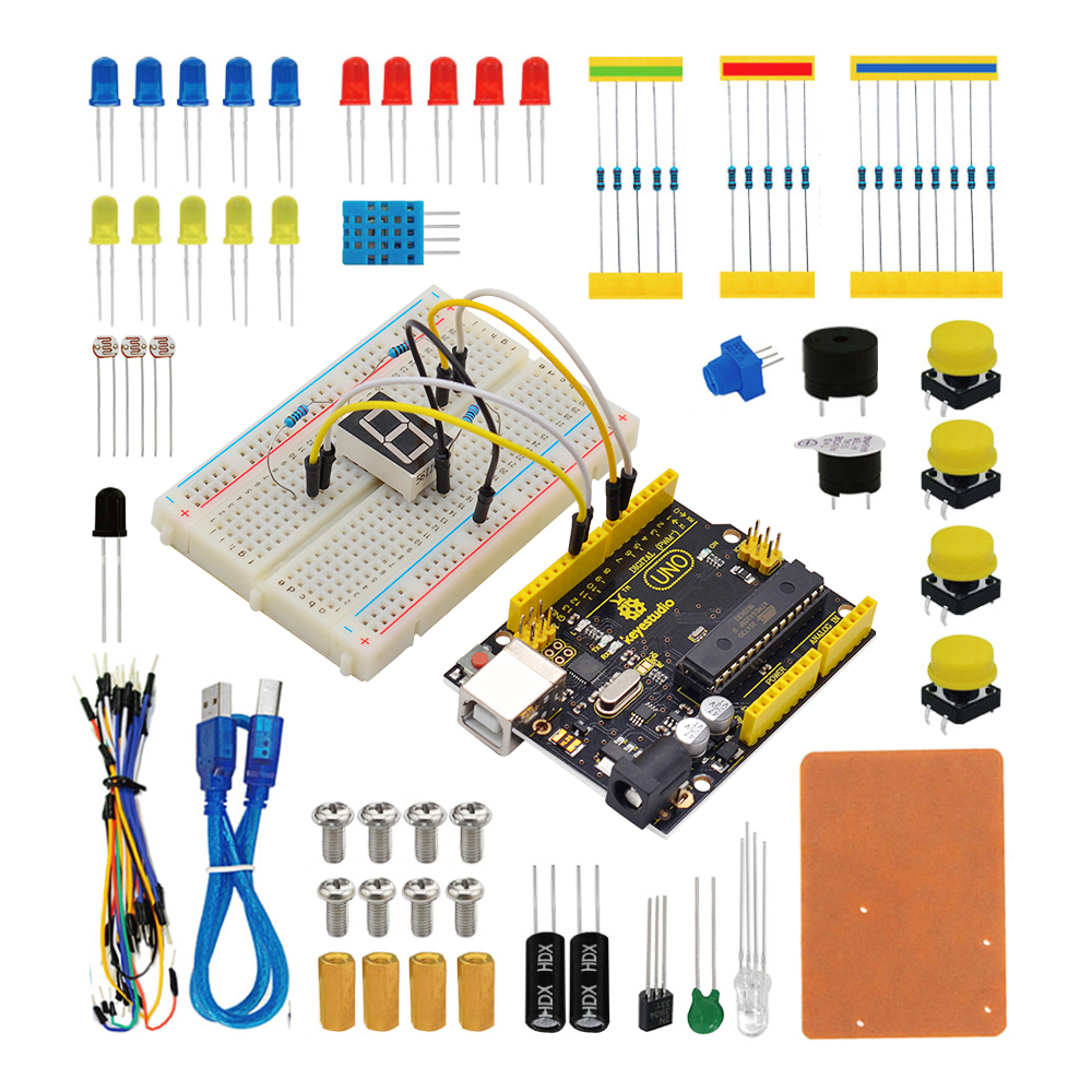 Free shipping! Keyestudio UNO R3 Breadboard kit Gift Box For Arduino Project with dupont wire+LED+resistor+PDF-in Integrated Circuits from Electronic Components & Supplies