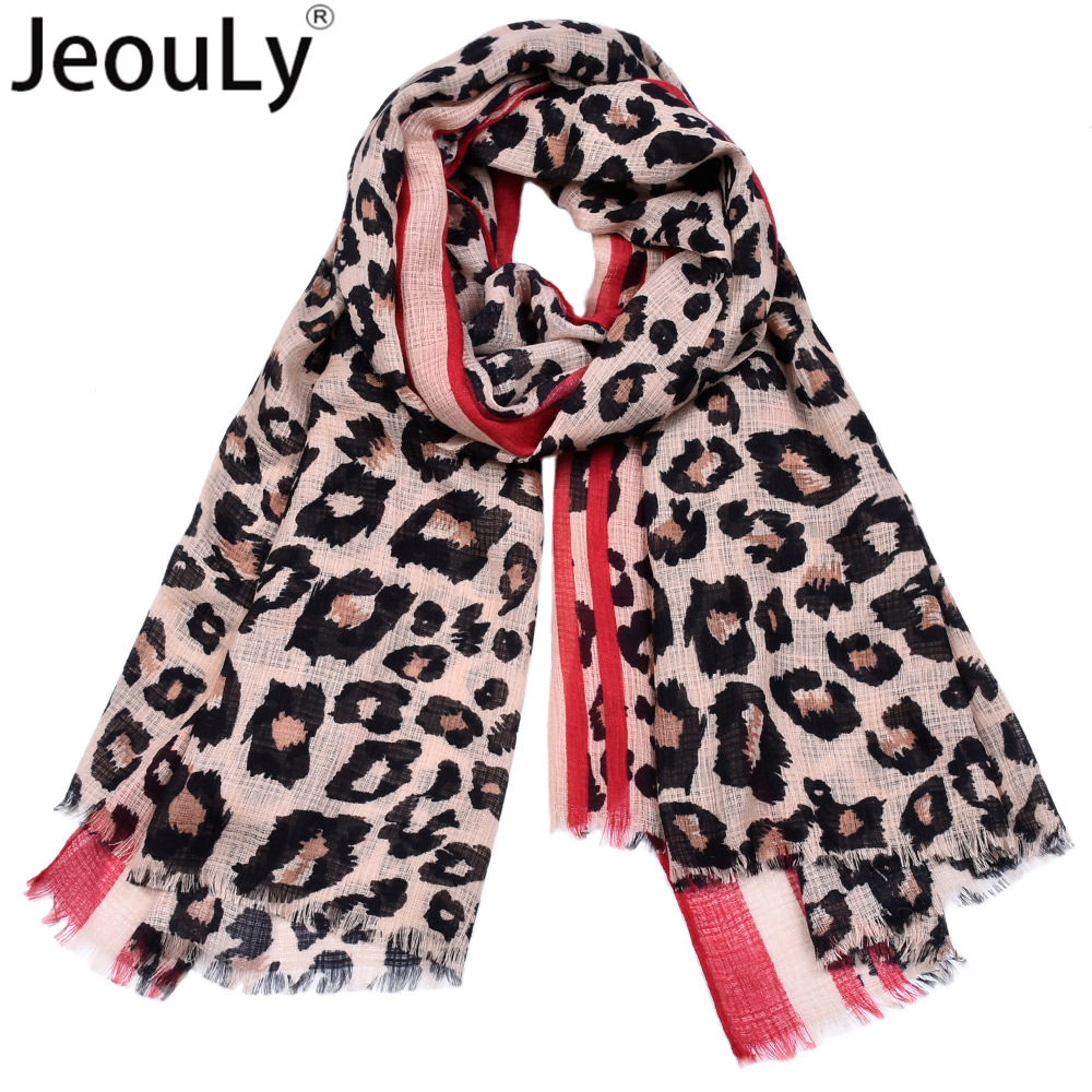 5fd661ddbe64 Jeouly leopard scarves womens striped cachecol marcas lady long scarf  sunscreen shawls hijab wraps Echarpes Foulard Femme red