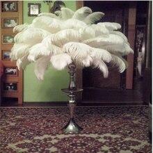 50 шт./лот, красивые свадебные украшения, белые страусиные перья, 10-12 дюймов/25-30 см, свадебные украшения, перья