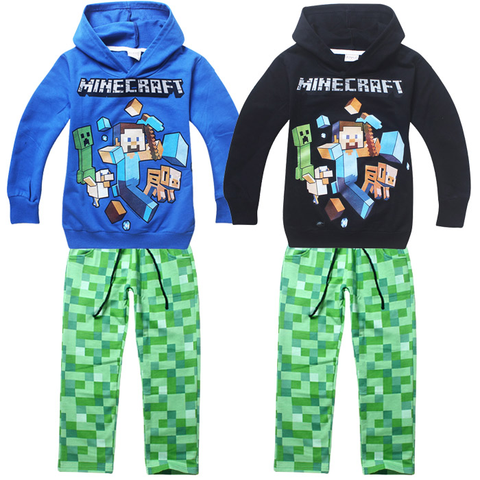 MineCraft Childrens Sets Cartoon Long Hoodies + Pants Creeper Pattern Cotton Clothing Sets Boys Kids Gifts Sports Set For 6-14T