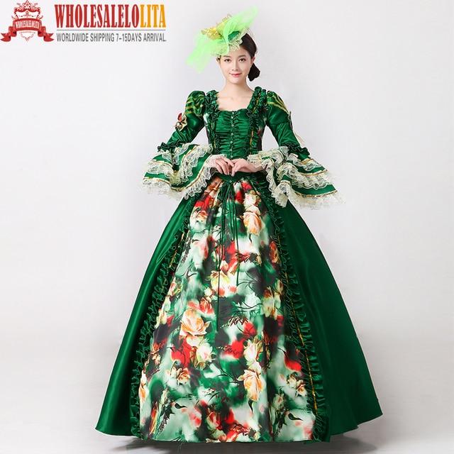 Royal Green Floral Printed Marie Antoinette Dress Medieval Civil War ...