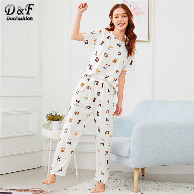 Dotfashion White Cartoon Allover Dog Print   Pajama     Set   2019 Spring   Pajamas   For Women Casual Nightwear Short Sleeve Loungewear