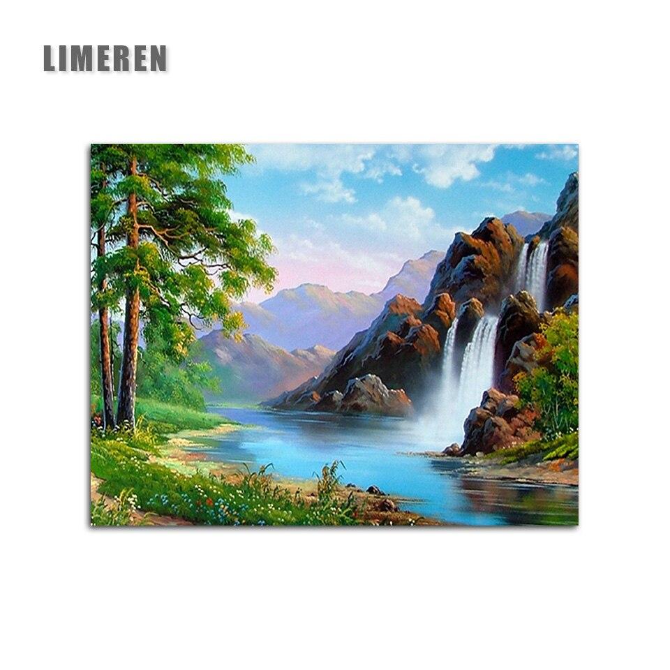 Primavera escena Natural cascada DIY imágenes pintadas a mano sobre lienzo pintura por números para el regalo único arte de la pared de la Sala