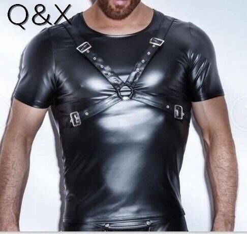 XX80 Yay Stil 2017 Moda Qara Faux Dəri Kişilər Seksual Alt paltarları İdman Korset kəmərli Qısa Qollu Futbolkalar