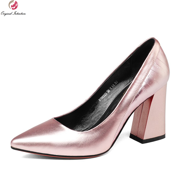 c885d85dc162 Original Intention New Fashion Women Pumps Cow Leather Pointed Toe Square  Heels Pumps Grey Pink Silver