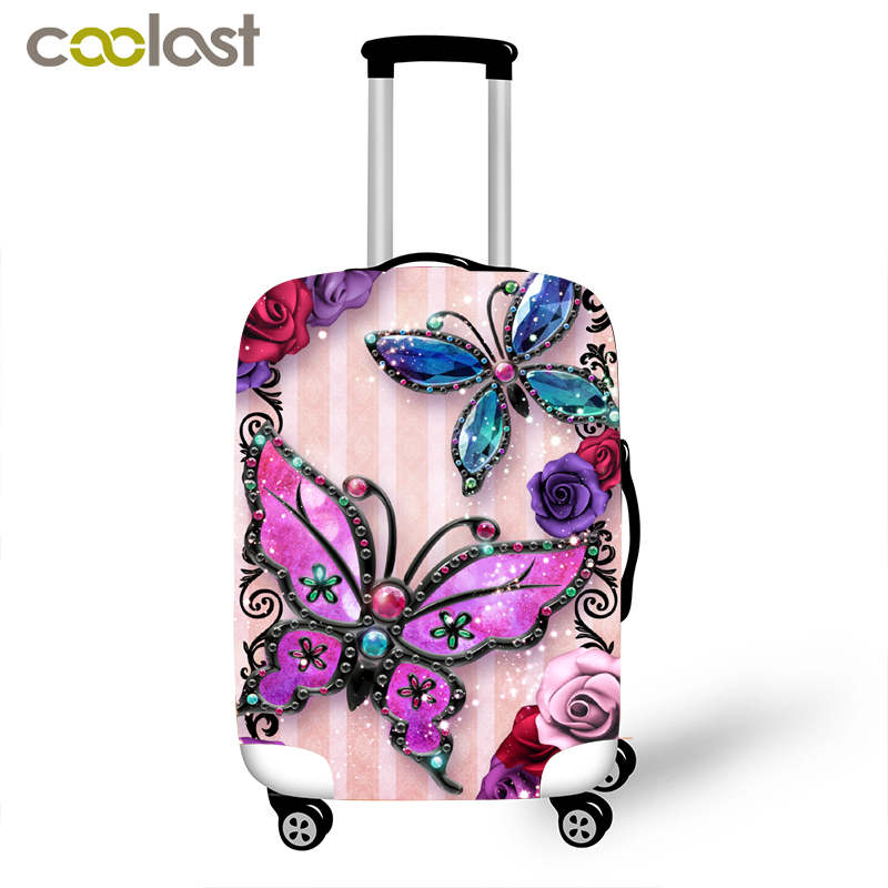 beautiful trolley drawing - Beautiful butterfly suitcase trolley case protective cover for 18-32 inch travel cases elastic suitcase luggage covers