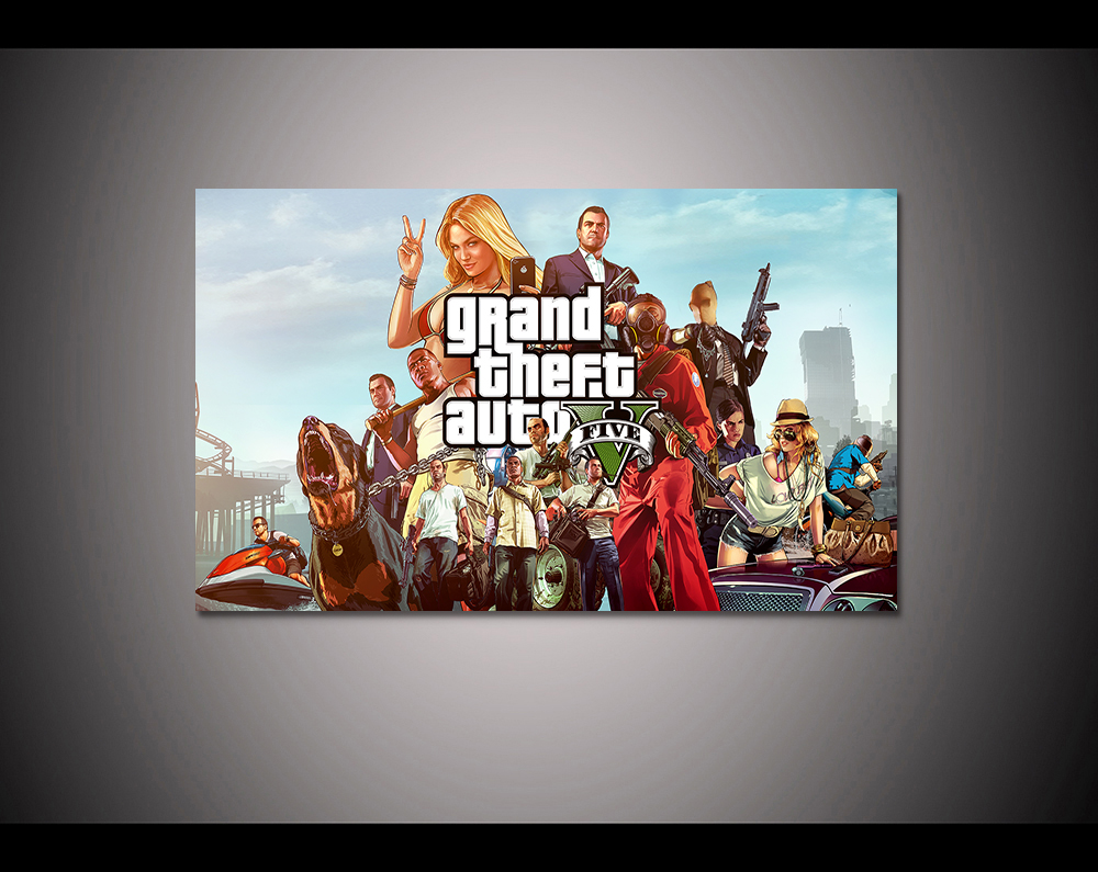 Canvas print painting Grand theft auto gta v 5 Game poster Modern Home Decor Wall art Pictures For Living Room No frame F1593