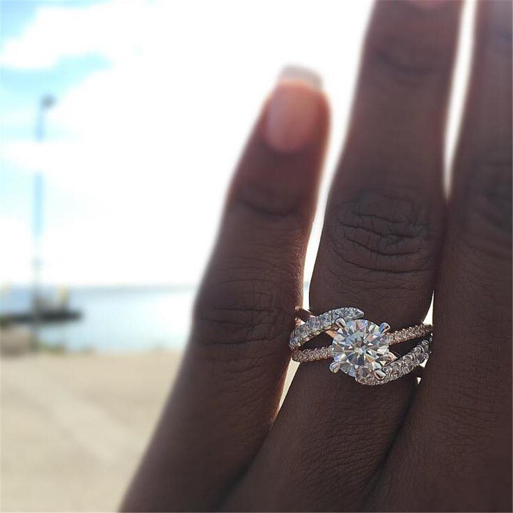 Новинка, кольца из розового золота для женщин, полностью Кристальное обручальное кольцо из Стразы для дам, Женские аксессуары, кольца на палец, ювелирное изделие, подарок - Цвет основного камня: 4