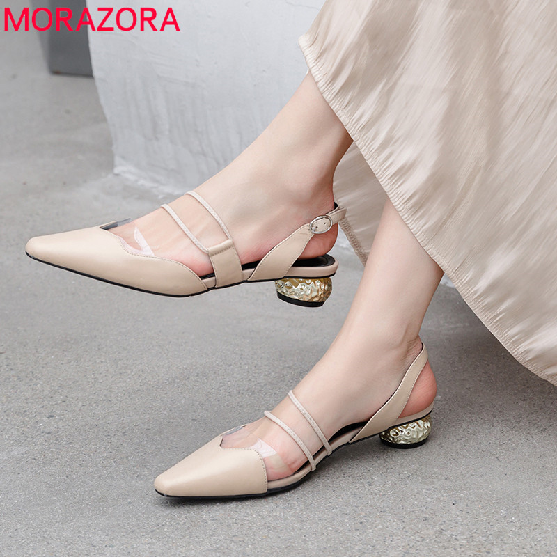 MORAZORA 2019 big size 42 genuine leather shoes woman elegant dress shoes ladies buckle summer shoes
