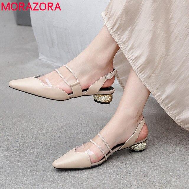 MORAZORA 2019 büyük boy 42 hakiki deri ayakkabı kadın zarif elbise ayakkabı bayanlar toka yaz ayakkabı moda kadın sandalet