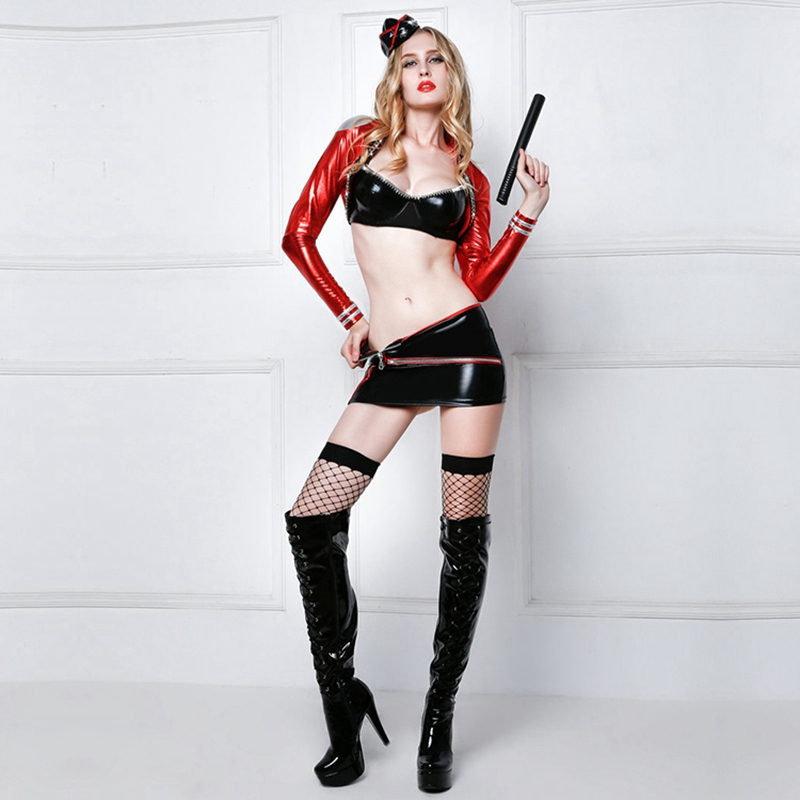 Sexy Army Costumes Women Charming Latex Leather Uniform Outfit Include Spontoon hat tops skirt stockings thong 6016