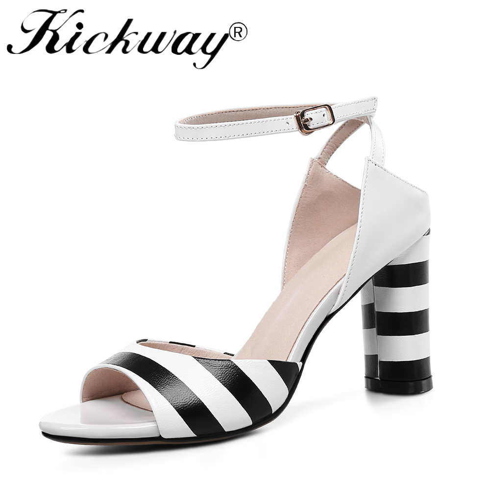 Kickway 2018 Ankle Strap Heels Women Sandals Summer Shoes Women Open Toe Chunky High Heels Party Dress Sandals Big Size 43 zorssar 2018 fashion ankle strap heels women sandals summer shoes women open toe high heels party dress sandals big size 43