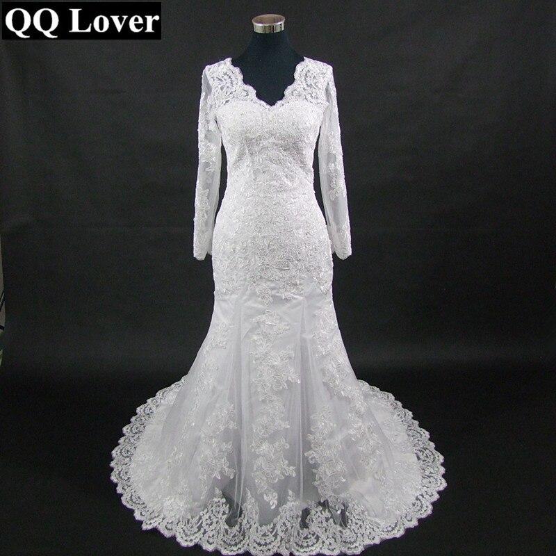 QQ Lover 2019 New Long Sleeve Mermaid Lace Wedding Dress 2019 Sexy V-neck Beaded Applique Wedding Bride Dress Vestido De Noiva