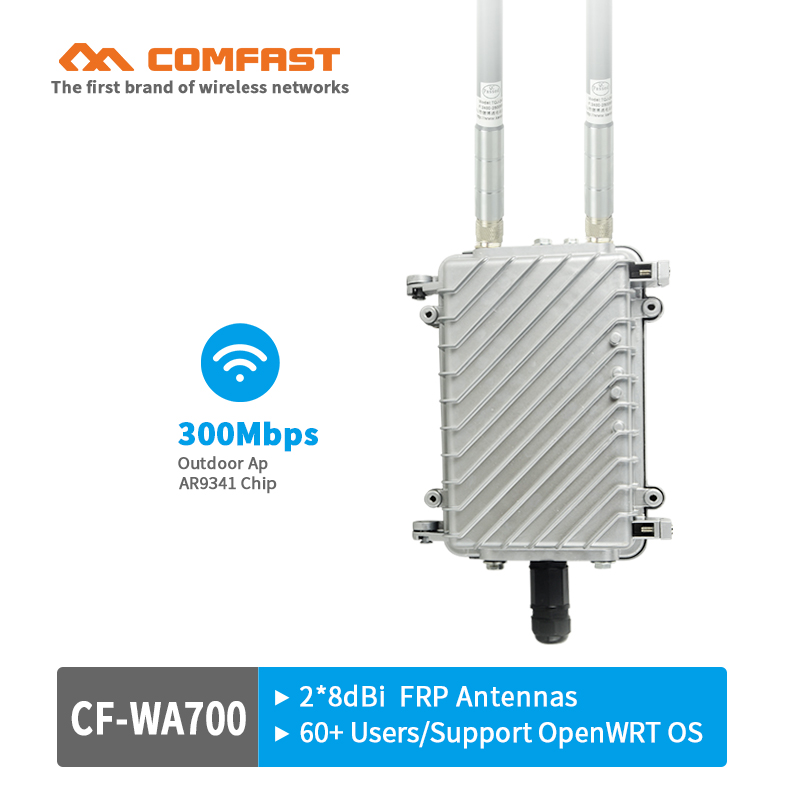 COMFAST 27dBm high power Wireless outdoor AP base station 300Mbps wi fi router repeater with 2* 8dBi FRP wifi antennas 48V POE original xiaomi wifi electric power cat repeater 300mbps 2 4g wireless wi fi repeater network router 802 11n dual antennas