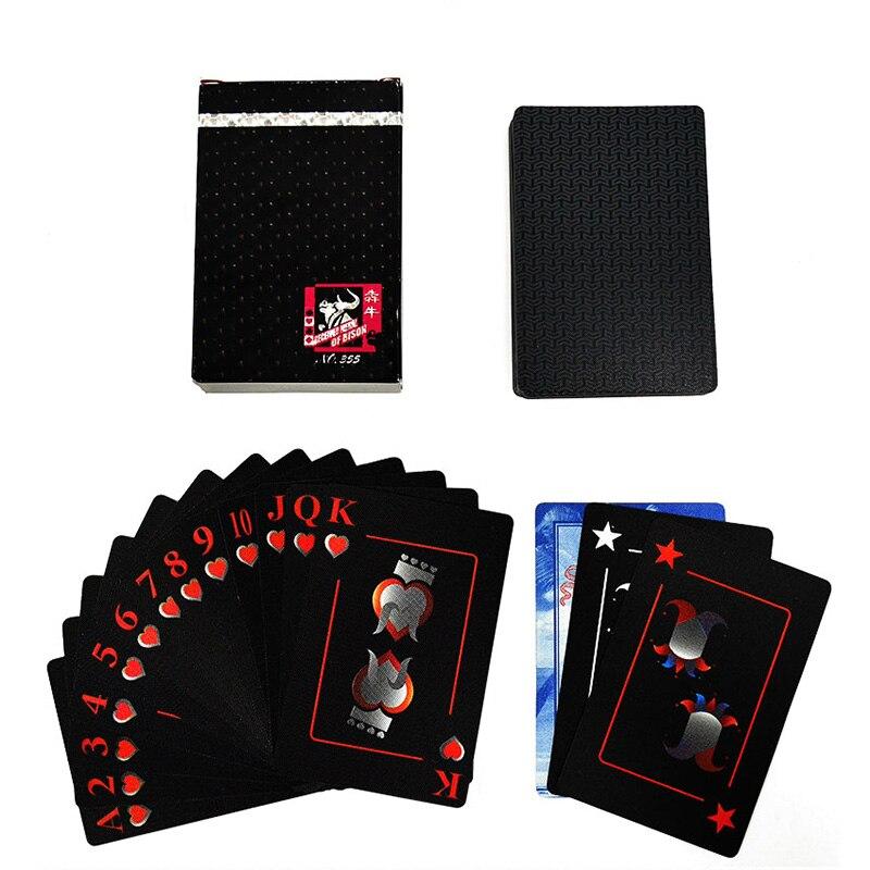 Cartes de jeu magiques durables noires de Collection de Poker de PVC imperméable de carte à jouer