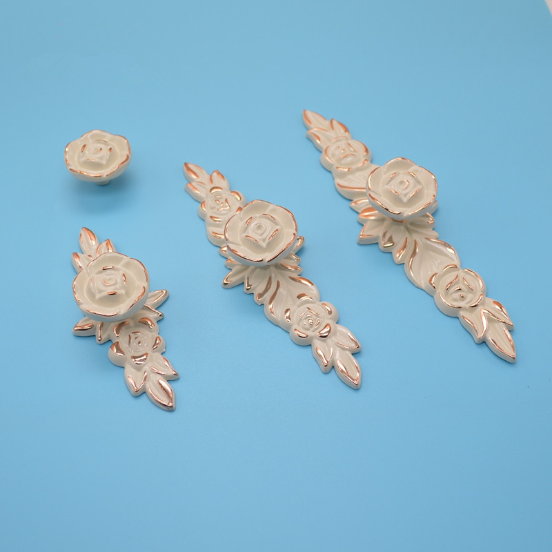 rose flower dresser knobs drawer knob pulls pull handles gold and lvory white kitchen cabinet knobs - Decorative Drawer Knobs