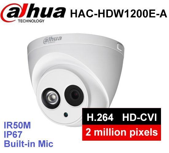 Dahua HDCVI Camera DH-HAC-HDW1200E-A 2MP HD1080P IR 30m built-in MIC IP67 CCTV Security Dome Camera dahua hdcvi camera 2mp hd 1080p dh hac hdw1200e network ir dome security camera cctv ir distance 50m hac hdw1200e
