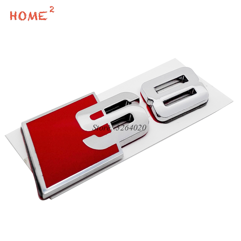 Car Accessories for S8 S 8 Logo Metal Rear Trunk Badge Stickers Auto Tail Emblem Decals for Audi S Line Sline S8 S3 S4 A3 Q5 TT