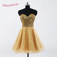Short Celebrity Party Dress Homecoming Gowns For Girls Gold Cocktail Dress Bandage A Line Sequins Sweetheart