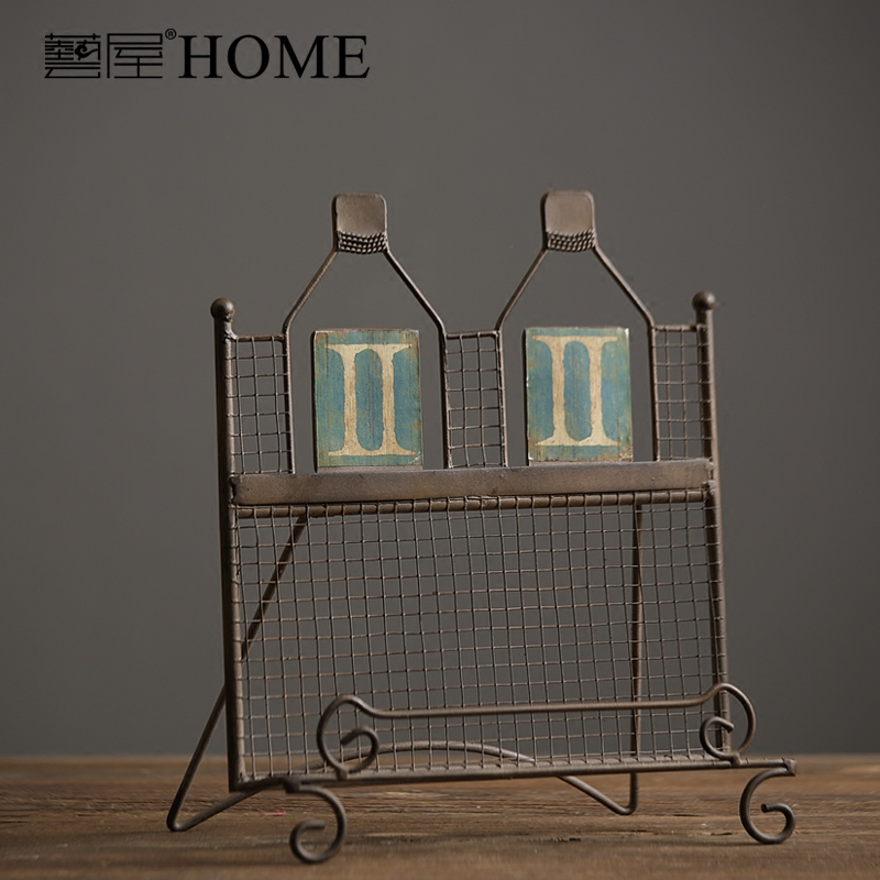 American Country Style Retro Old Iron Shelf Books Iron Art Magazine Storage  Shelf Vintage Books Rack Home Bars Cafe Decor