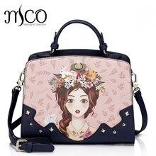 Women Shoulder Bags Female Messenger Bag Handbags Totes Borsa Braccialini Brand Design Cartoon Girl Illustration top-handle bags