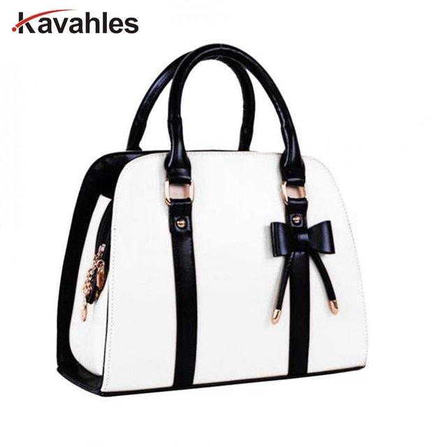 c9bae9883b6b New Women Handbag Black Bow Bag Leather Shoulder Bowknot Bag Female Candy  Women Messenger Bags Women Tote Bag Clutch bolsaPP-379