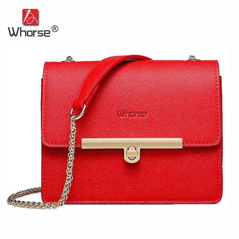 [WHORSE] Fashion Women Messenger Bags Genuine Leather Handbag Small Chain Crossbody Shoulder Bag For Ladies Handbags W08730