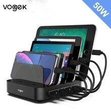 Vogek 5 Poorten USB Laadstation met Houder 50W 10A Desktop USB Lader voor Telefoon Tablet Opladen Dock Organizer smart
