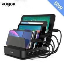 Vogek 5 יציאות USB תחנת טעינה עם מחזיק 50W 10A שולחן העבודה USB מטען עבור טלפון Tablet טעינת Dock ארגונית חכם