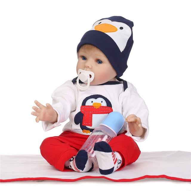 NPK 55CM Lifelike Newborn Baby Boys Boencas De Silicone