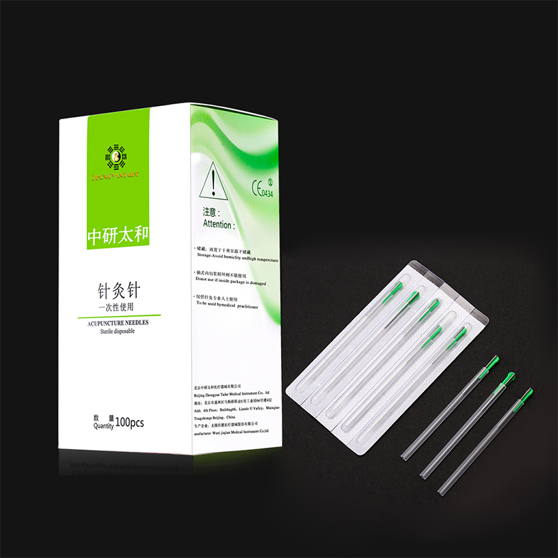 100 Pcs/pack ZhongyanTaihe Dry Needling Individual Package Disposable Acupuncture Needle Silver Handle Full Body Pain Relief