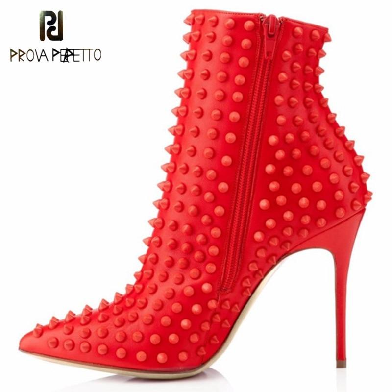 Prova Perfetto nouvelle mode Rivet bottes femme talons hauts bottines bout pointu Escarpins chaussures fines talon haut bottes taille 34-45Prova Perfetto nouvelle mode Rivet bottes femme talons hauts bottines bout pointu Escarpins chaussures fines talon haut bottes taille 34-45