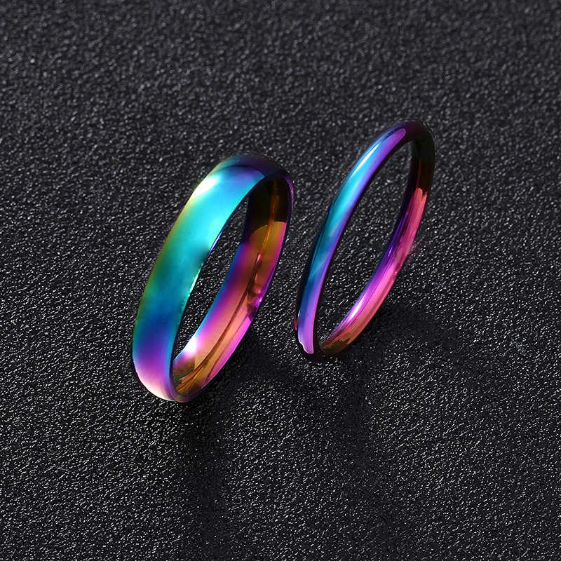 Couple Ring for Women and Man Titanium Steel Lovers Ring Stainless Steel Wedding Bands 2mm 4mm