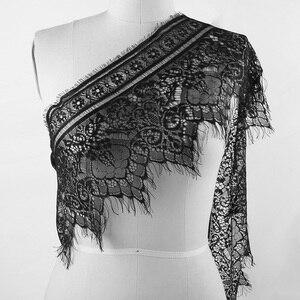 Image 2 - 3 야드 클래식 속눈썹 레이스 트림 블랙 & 화이트 부드러운 꽃 클래식 레이스 패브릭 장식 공예 드레스 장식 만들기위한 바느질
