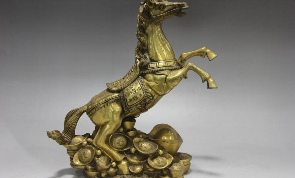 Chinois folk Fengshui cuivre laiton cheval argent richesse YuanBao cheval chanceux Statue