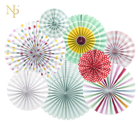 Nicro 8Pc Set Party Decorative Creative Paper Flower Fan Handmade Multi Color Folding Fan Birthday Party