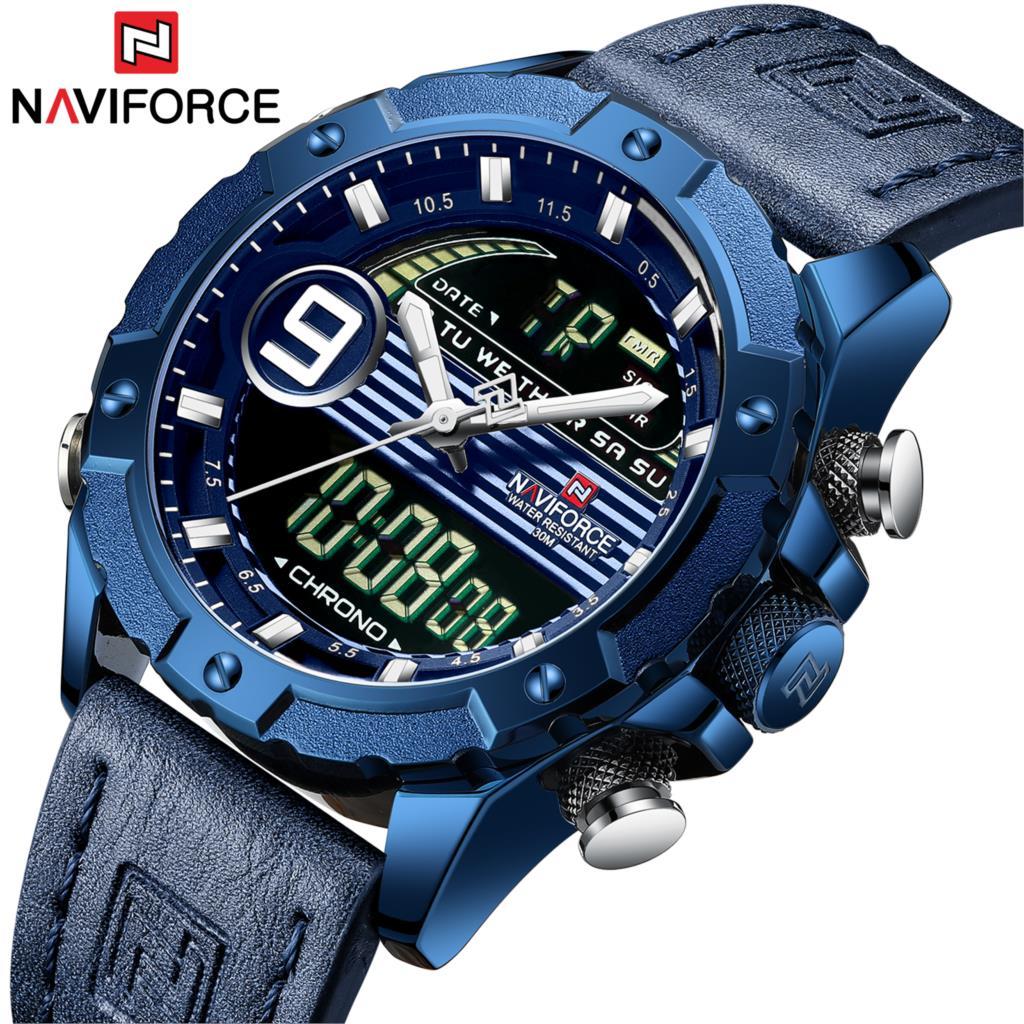 NAVIFORCE Marque Nouveau Bleu Hommes Montre En Cuir Sport Chronographe Militaire Montres Quartz Horloge Analogique Numérique 3ATM Étanche 2019