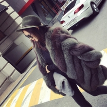 New arrival fluffy women real fox fur coat retro striped full pelt leather design women's long blue fox fur coat 80cm jacket