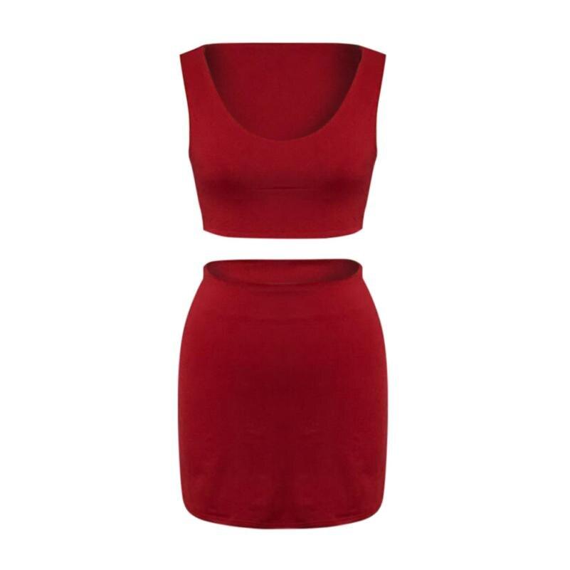Snowshine Юли пикантные женские без рукавов Повседневное укороченный топ, футболка + юбка из двух предметов повседневные комплекты одежды