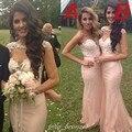 Vestido de dama de Honra país Bruidsmeisje Jurk Volwassenen Sereia Rosa Vestidos de Dama de honra Sexy Longo Modest Dama de Honra Vestidos de 2016