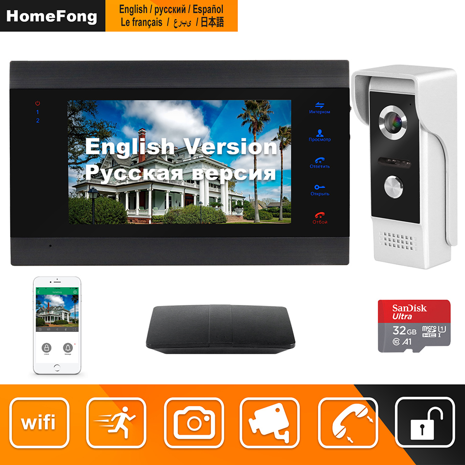 HomeFong WiFi Door Video Phone Wireless Video Intercom For Home 7inch HD Monitor IR Doorbell With Motion Detection Home Intercom