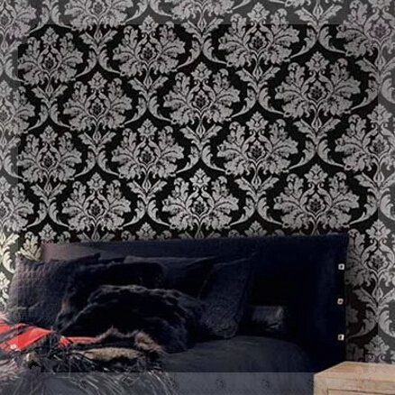Aliexpress Com Home Decor Black Silver Damask Wallpaper. Black And Silver Bedroom Wallpaper   Bedroom Style Ideas