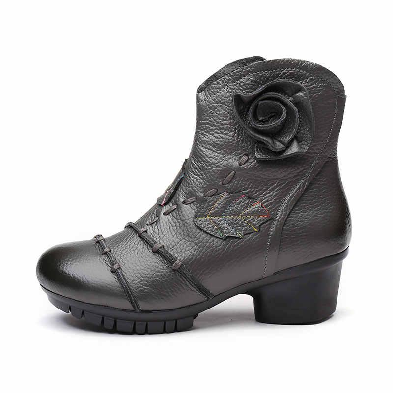 2019 Vintage tarzı hakiki deri kadın botları düz patik yumuşak inek derisi kadın ayakkabısı ön Zip yarım çizmeler zapatos mujer