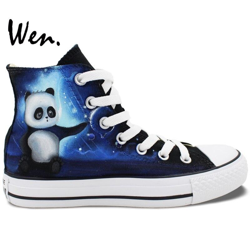 Prix pour Wen Custom Design Peint À La Main Chaussures de Petit Panda Hommes Femmes High Top Toile Sneakers D'anniversaire Cadeaux pour Garçons Filles